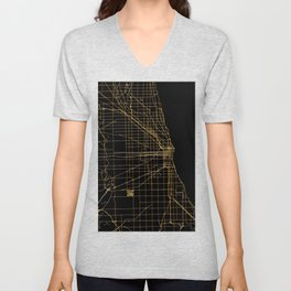 Black and gold Chicago map Unisex V-Neck