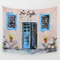 cafe Wall Tapestries featuring Le Cafe by Lisa Elley