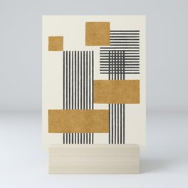 Stripes and Square Composition - Abstract Mini Art Print