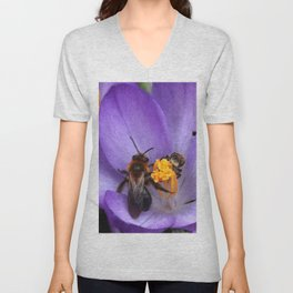 Bees and Crocus Unisex V-Neck