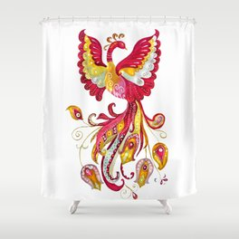 Watercolor Firebird Phoenix Fantasy Bird with Red Pink Yellow Feathers Shower Curtain