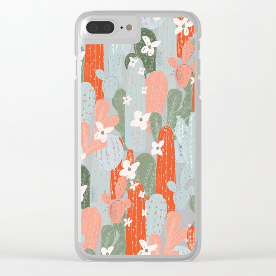 Floral Cactus Clear iPhone Case