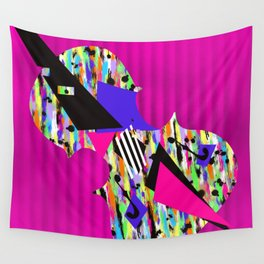 Cello Abstraction on Hot Pink Wall Tapestry