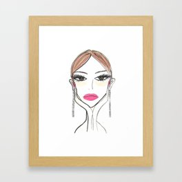 Another girl with the foil earrings Framed Art Print