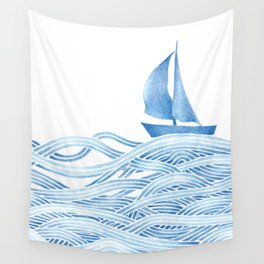 Blue sailboat, watercolor nautical ocean waves sea Wall Tapestry