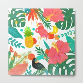 Tropical Vibes Summer Pattern Metal Print