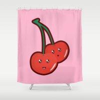 kawaii Shower Curtains featuring Kawaii Cherry by Nir P