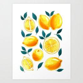 Golden lemons pattern in watercolor Art Print