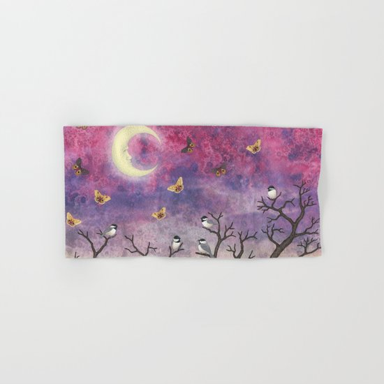 chickadees and io moths in the moonlit sky Hand & Bath Towel
