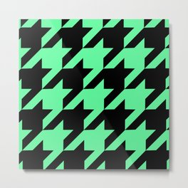 Mint Green Houndstooth Metal Print
