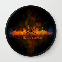 Barcelona City Skyline Hq _v4 Wall Clock