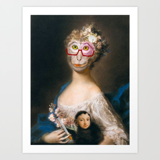 Rosalba Carriera - Young Woman with an Ape? Art Print