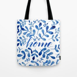 Watercolor home foliage - blue Tote Bag