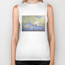 Vintage Map of Falmouth Neck Maine (1775) Biker Tank