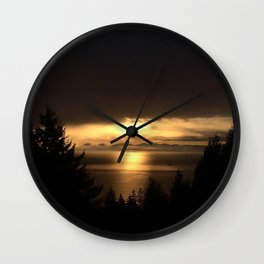 Golden Sunset Wall Clock