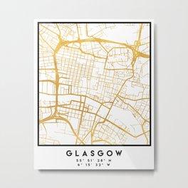 GLASGOW SCOTLAND CITY STREET MAP ART Metal Print