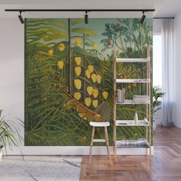 """Henri Rousseau """"In a Tropical Forest. Struggle between Tiger and Bull"""" Wall Mural"""