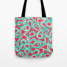 Turquoise Red Cool Abstract Wild Snakes Painting Tote Bag