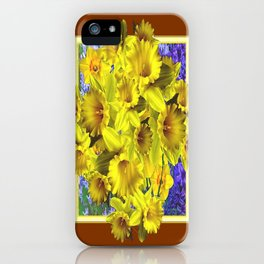 Decorative Golden Yellow Daffodils Coffee Brown Art iPhone Case