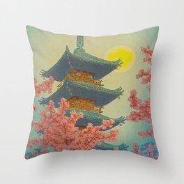 Pagoda, Ueno Park in Spring Evening Kasamatsu Shiro Japanese Woodblock Painting Asian Beautiful Ink Throw Pillow