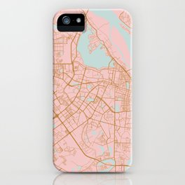 Pink and gold Hanoi map, Vietnam iPhone Case