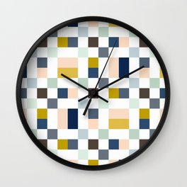 Harionago - Abstract Colorful Pixel Patchwork Wall Clock