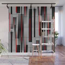 Off the Grid - Abstract - Gray, Black, Red Wall Mural
