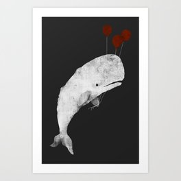 Whale with Balloons Art Print