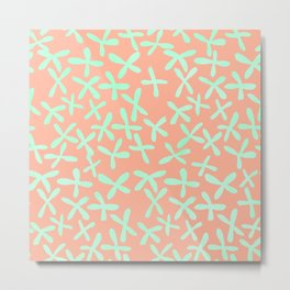 Sweet Life Firefly Peach Coral + Mint Meringue Metal Print
