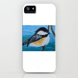 Chickadee bird painting, bird art, kitchen laundry room wall art iPhone Case