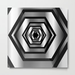 hexagon metallic art- digital realism Metal Print