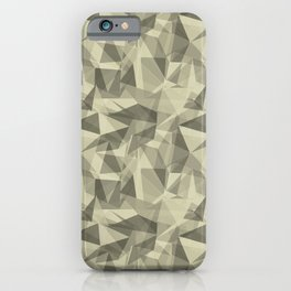 Abstract Geometrical Triangle Patterns 3 Natural Olive Green - Martinique Dawn - Asian Silk iPhone Case