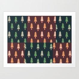Xmas Tree Asymmetric Pattern Art Print