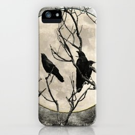 Black White Crows Birds Tree Moon Landscape Home Decor Matted Picture Print A268 iPhone Case