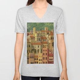 Medieval city Unisex V-Neck