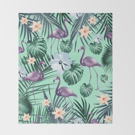 Tropical Flamingo Flower Jungle #5 #tropical #decor #art #society6 Throw Blanket