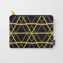 Black and Gold Art Deco Geometric Pattern Carry-All Pouch