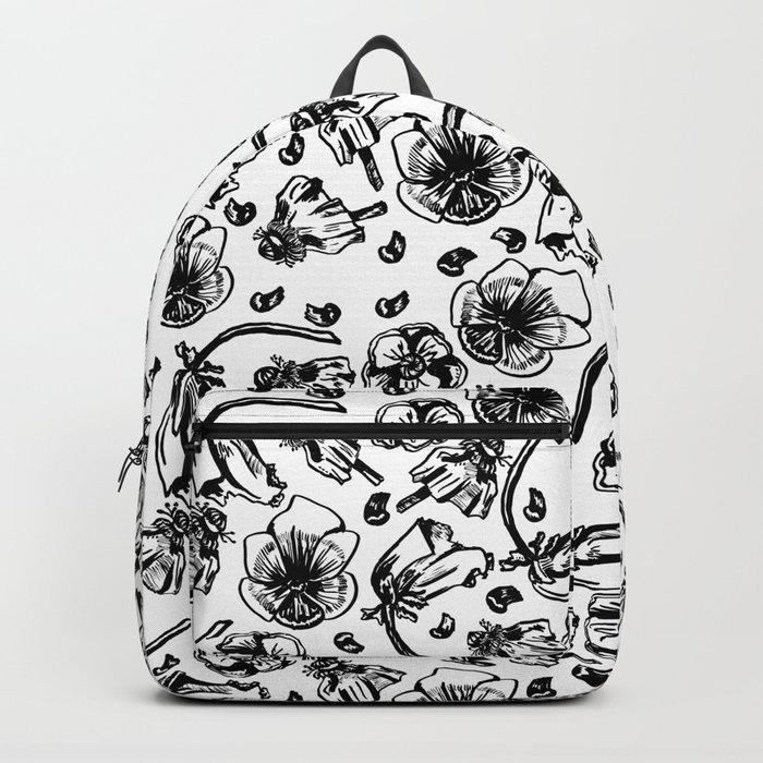 B/W flowers Backpack