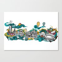 melbourne Canvas Prints featuring Melbourne by Alina Balan