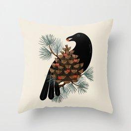 Bird & Berries Throw Pillow
