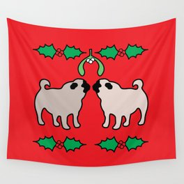 christmas pugs and kisses Wall Tapestry