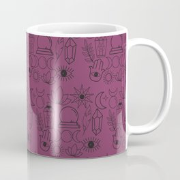 Magical Wiccan Tools Pattern on a Magenta Background Coffee Mug