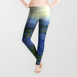 Meadow of Wild Blue Irises, Springtime by Maria Oakey Dewing Leggings