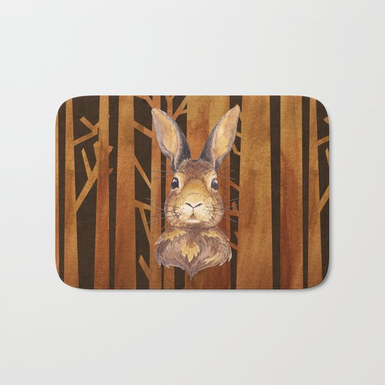 Rabbit in the forest- abstract animal hare watercolor illustration Bath Mat