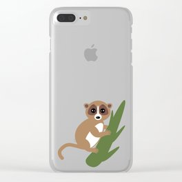 lemur on green branch on white background Clear iPhone Case