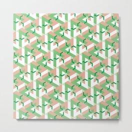 Triangle Optical Illusion Green Medium Metal Print
