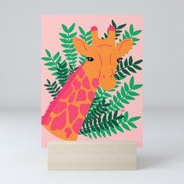Giraffe - pink and green Mini Art Print