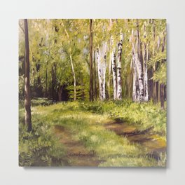 Birch Trees Nature Landscape Oil Painting Metal Print