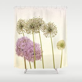 Tall Green Allium Plants and Pink Star Flowers Shower Curtain