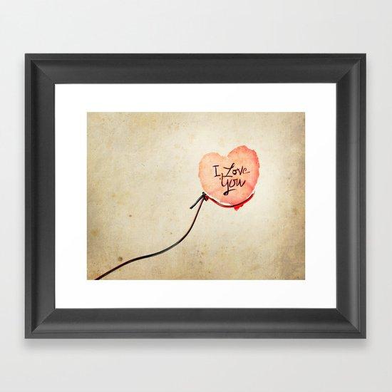 Love heart Message Framed Art Print